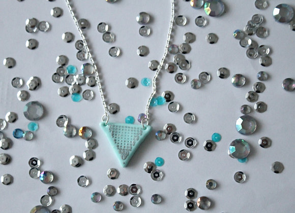 Mint Triangle Necklace with Silver Embossed Spotted Print