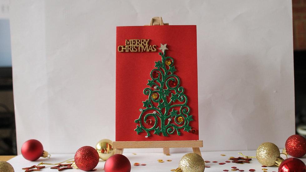 Swirly Heat Embossed Christmas Tree Card