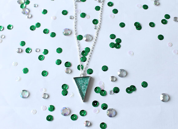 Triangle Clear Resin with Sparkles Necklace