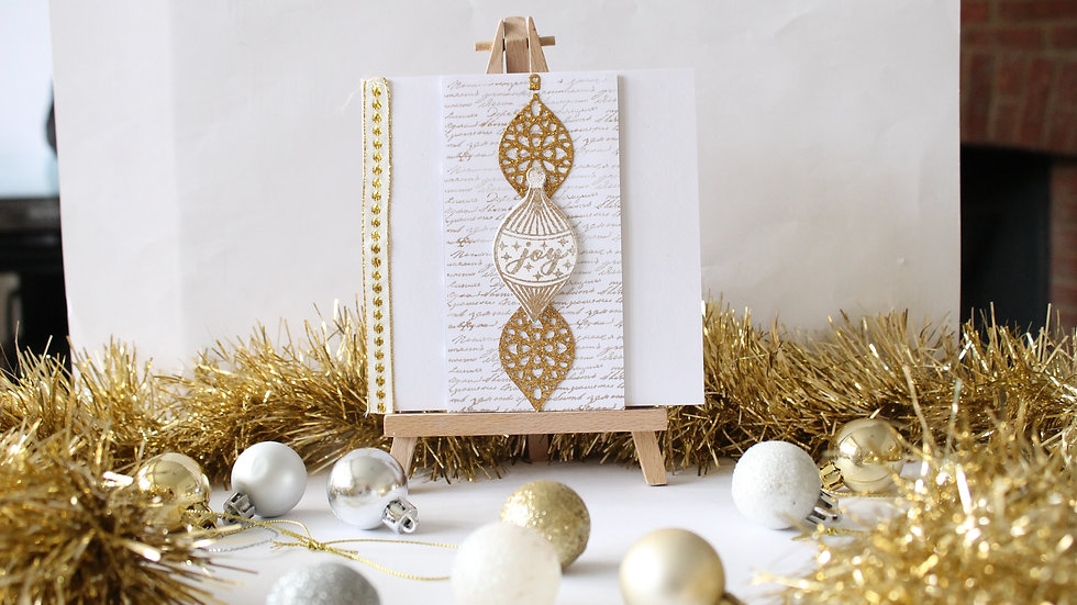 Three Gold Bauble Christmas Card