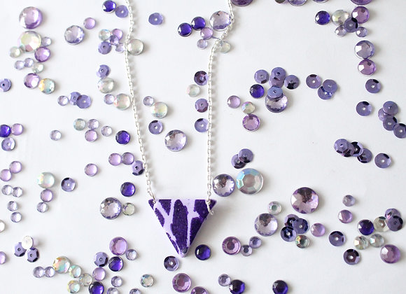 Purple with Spot Print Triangle Necklace