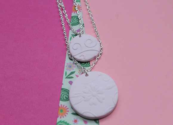 Double Pendant Embossed Floral Necklace