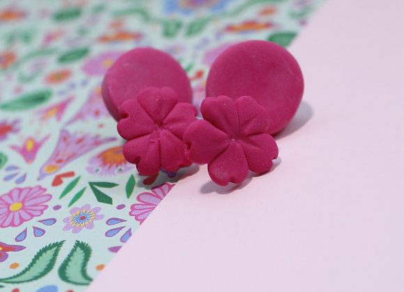 Bright Pink Stud with Bold Flower Backdrop