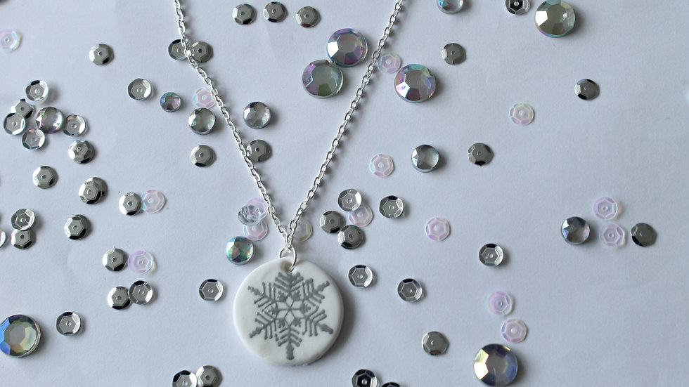 Silver Embossed Snowflake Necklace