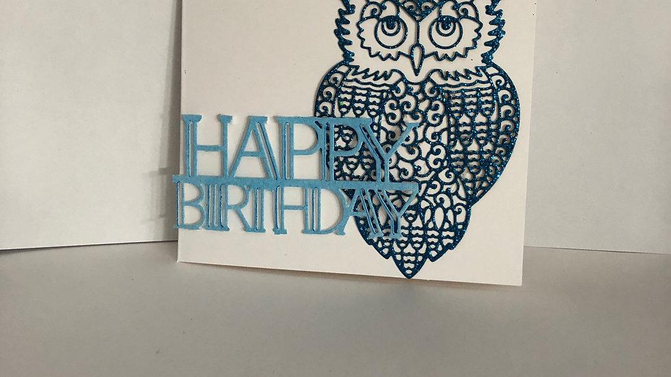Sparkly Owl Birthday Card