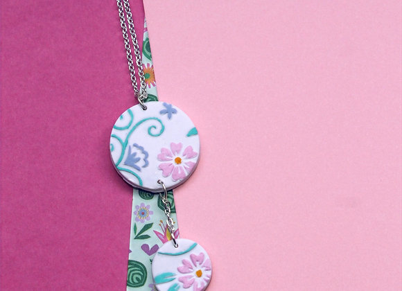 Soft Pink Floral Embossed Hand Painted Necklace with Small Drop