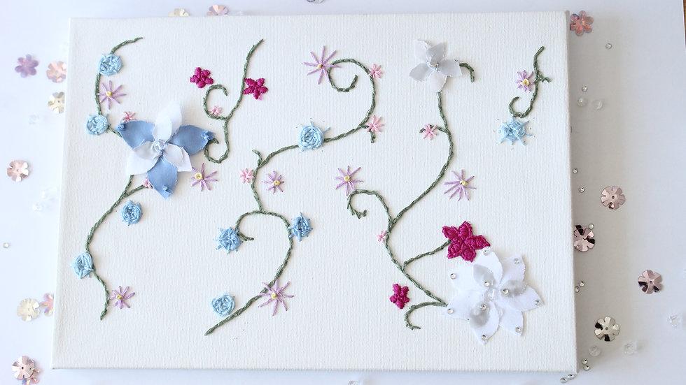 Embroidered Florals Canvas with Appliqué Flower Details