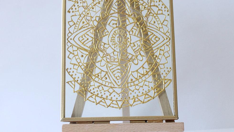 Gold Geometric Glass Art