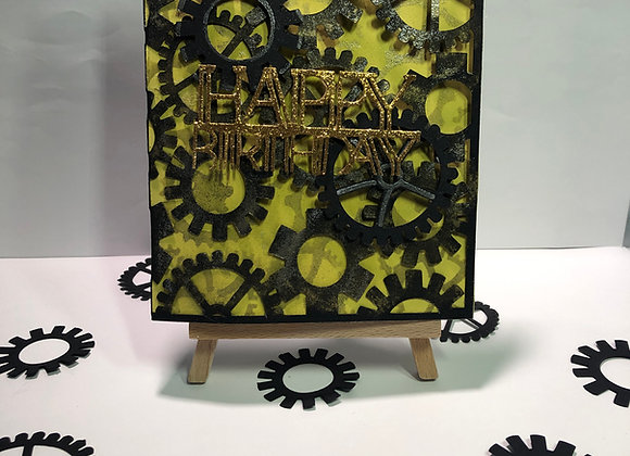 Cogs Works Birthday Card Black