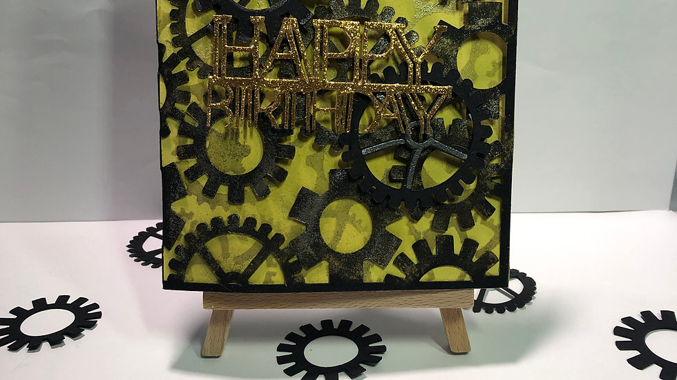 Cogs Works Birthday Card Black