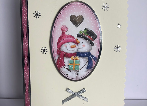 Basic Snowmen In Love Christmas Card