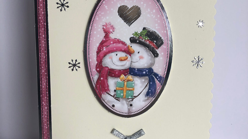 Basic Snowmen In Love Christmas Card