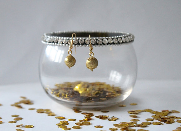 Small Gold Ball Sparkly Earrings