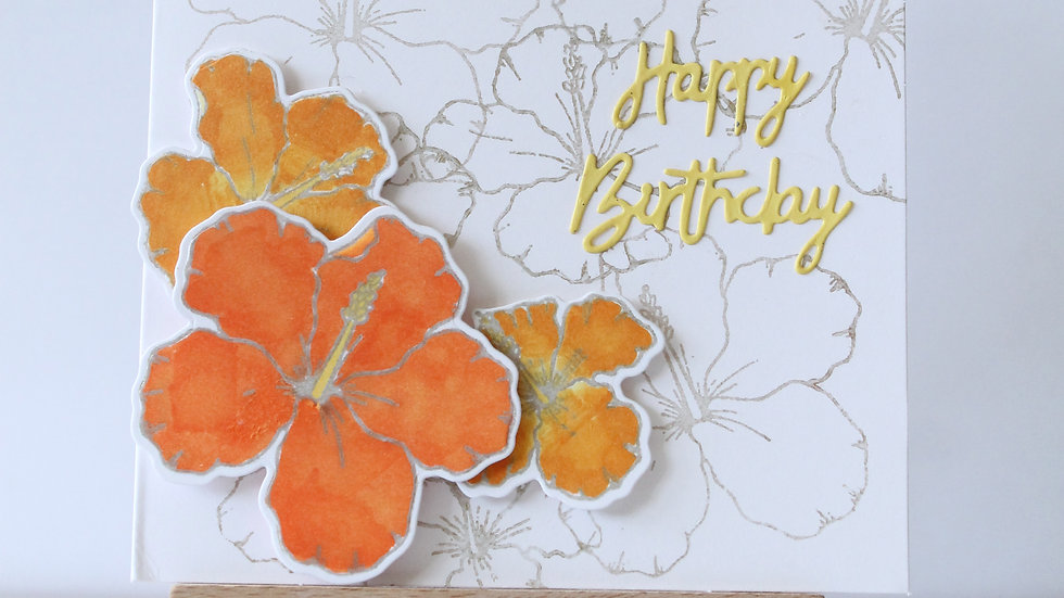 Hibiscus Flower Card with Matching Hibiscus Background