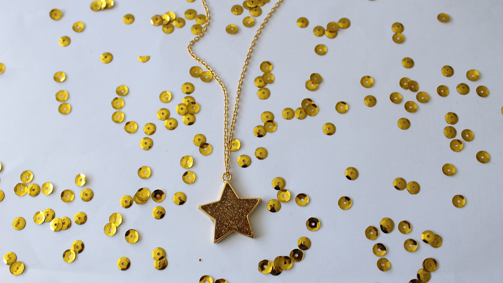 Gold Star Clear Resin with Sparkles Necklace
