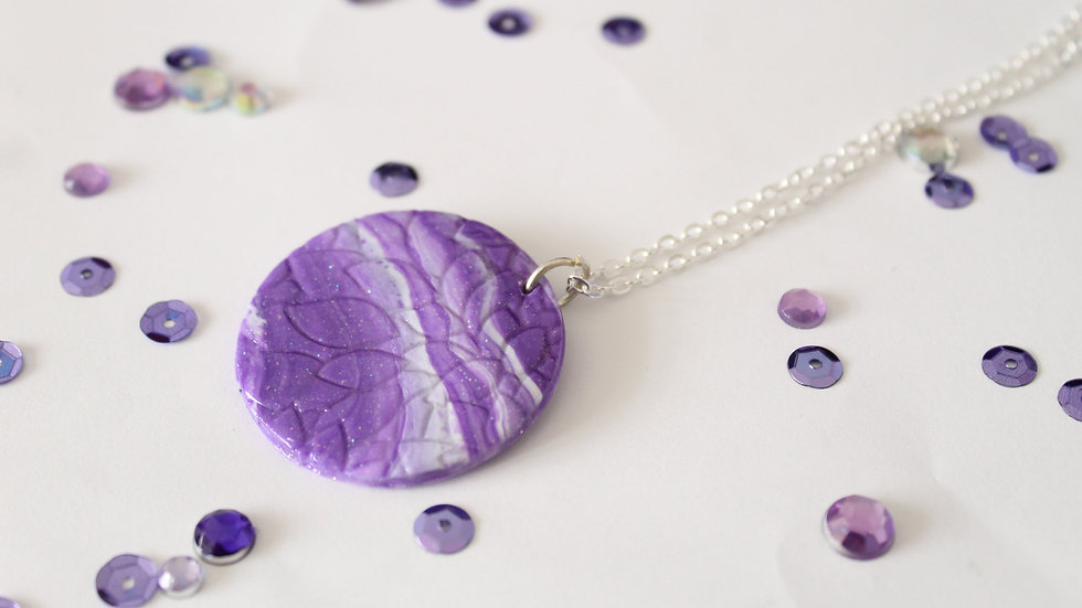 Large Sparkly Marbled Polymer Clay Pendant with Subtle Floral Embossed Patterns