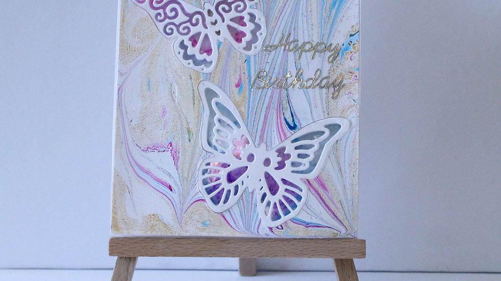 Embedded Butterfly with Marble Effect Background