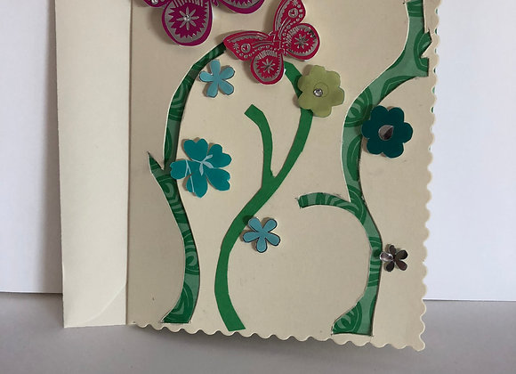 Cut Away and Multiple Layer Flower and Butterfly Birthday Card