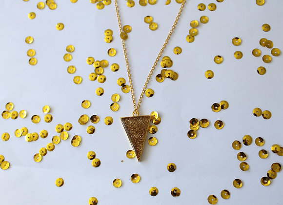 Triangle Clear Resin with Sparkles Necklace Gold