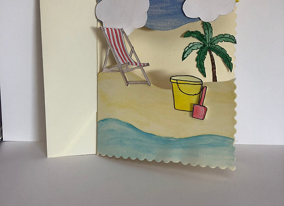 Beach Scene Card with 3d effect
