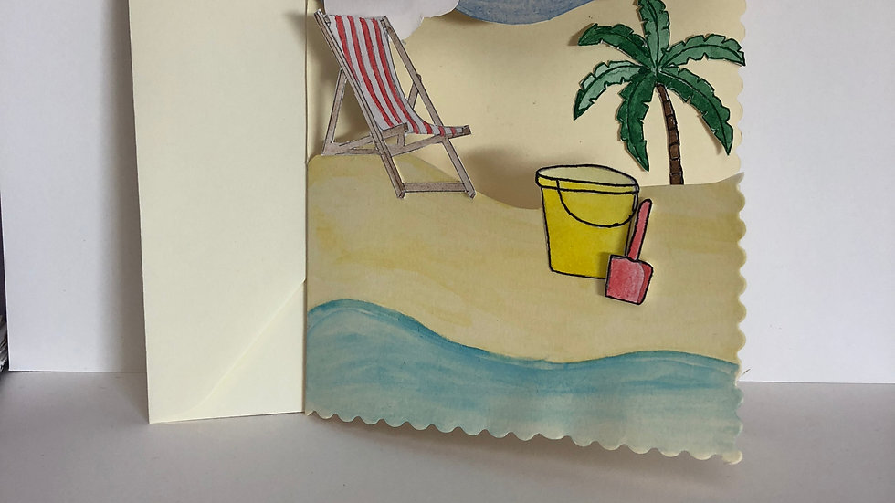Beach Scene Card with 3d effect