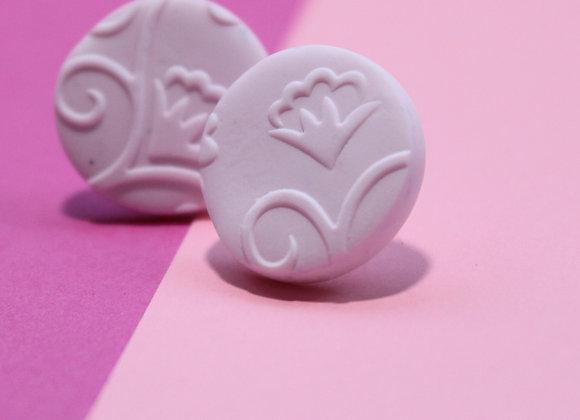 Soft Pink Embossed Round Studs