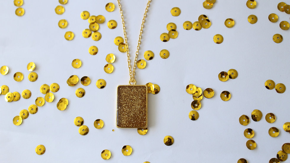 Square Clear Resin with Sparkles Necklace