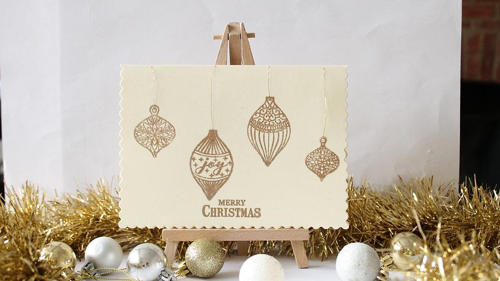Heat embossed bauble Christmas Card