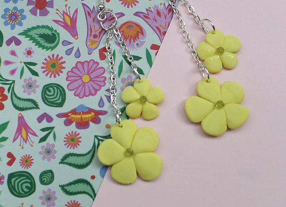 Bold and Bright Yellow Flower Earrings