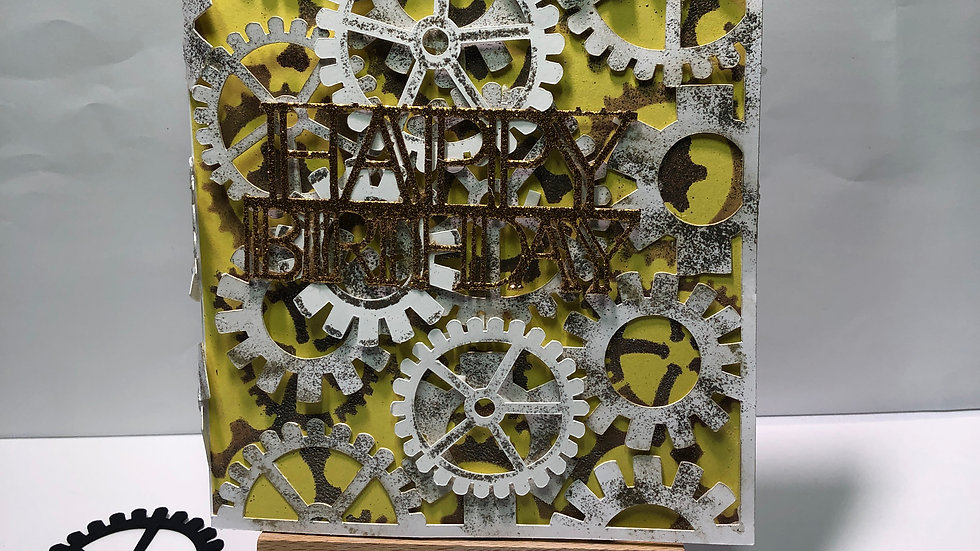 Cogs Works Birthday Card White