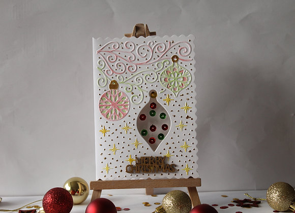 Embossed Hand Water Coloured Bauble Card
