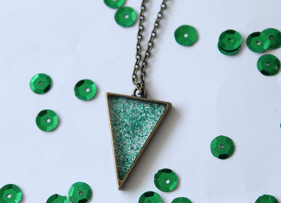 Triangle Clear Resin with Sparkles Necklace Bronze