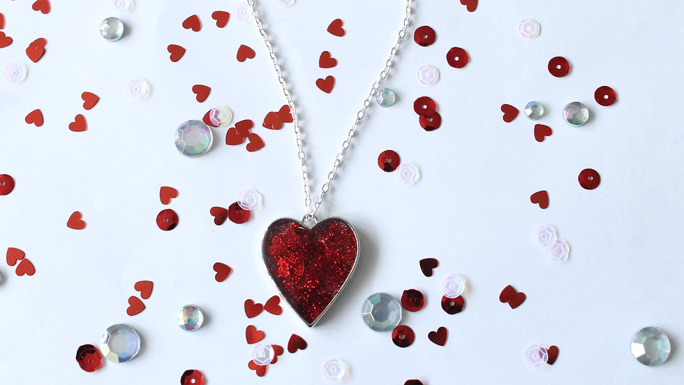 Red Sparkly Resin Heart Necklace