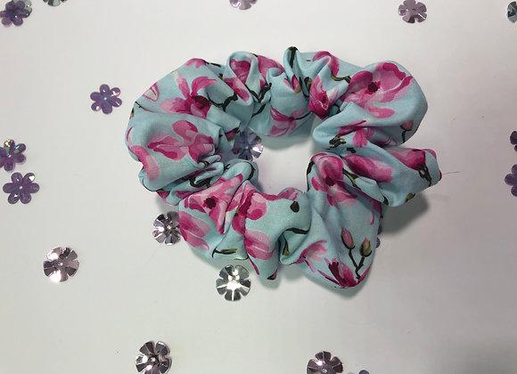Blue Floral Cotton Scrunchy