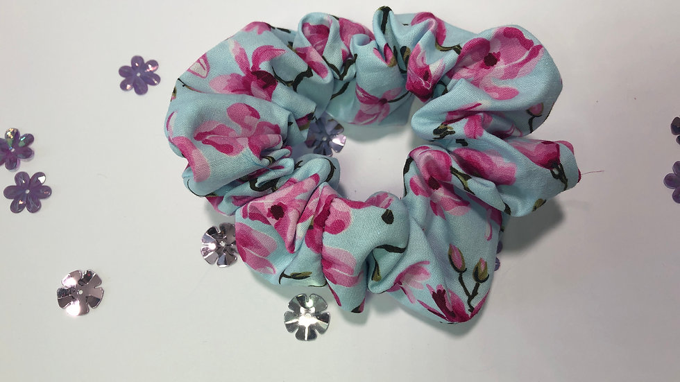 Blue Floral Cotton Scrunchy