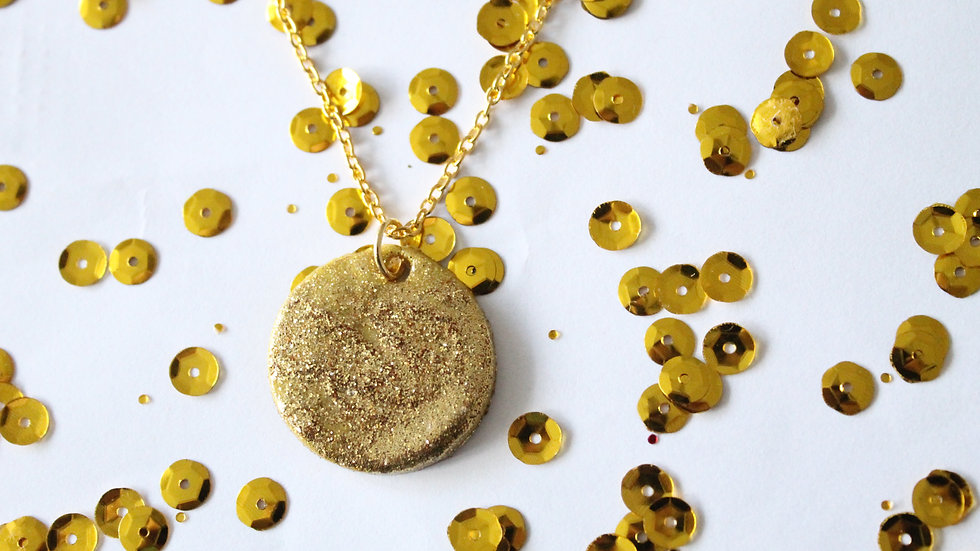 Sparkly Gold Round Necklace with Texture