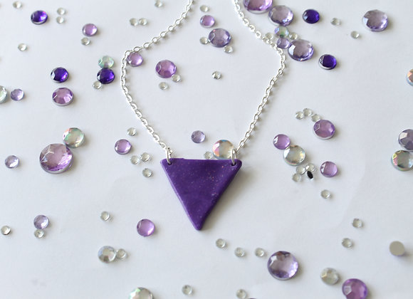Simple Triangle Sparkly Polymer Clay Pendant Necklace