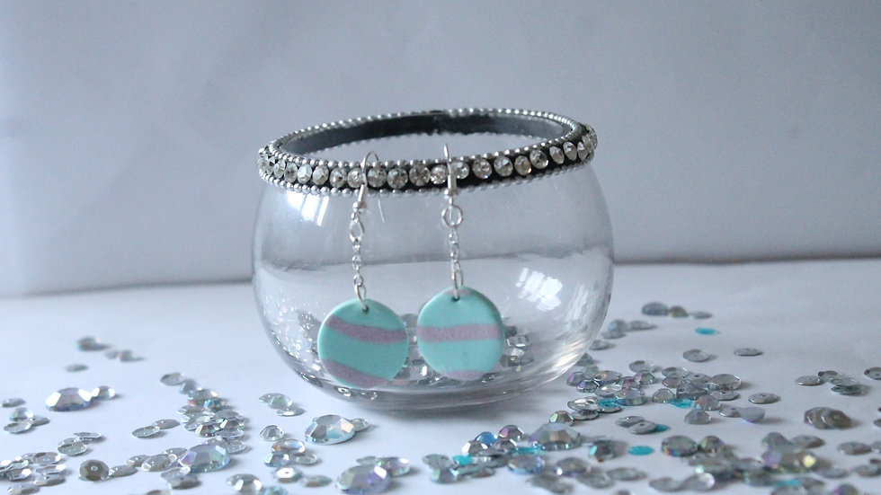 Round Teal with Pink Wavy Line Print Drop Earrings