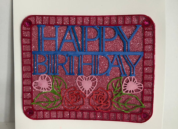 Pink Sparkly Birthday Card