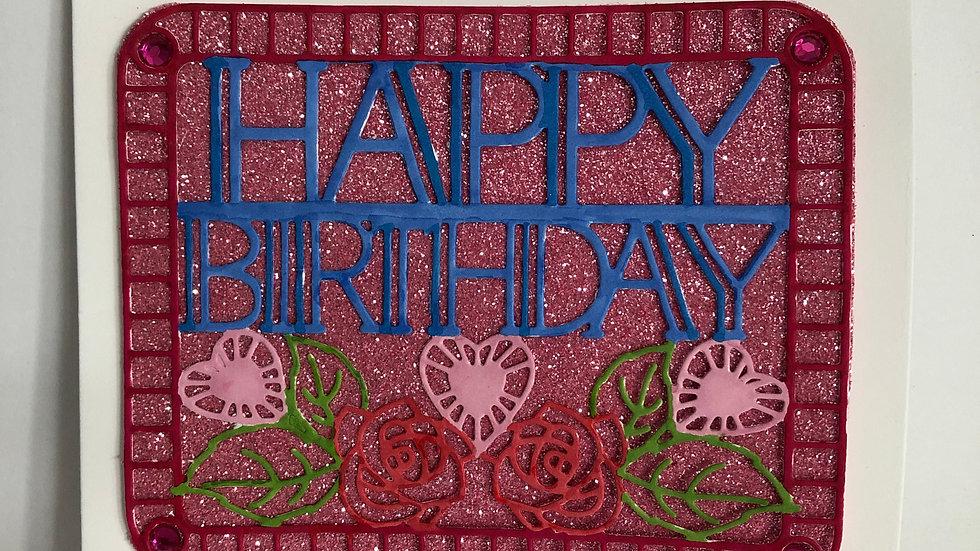 Pink Sparkly Birthday Card