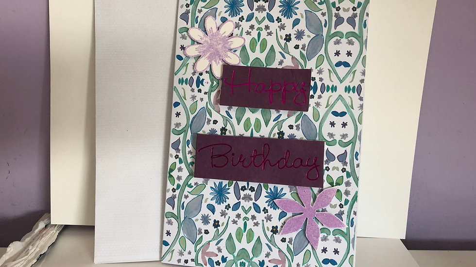 Hand Drawn Floral Birthday Card With 3D Heat embossed Flowers