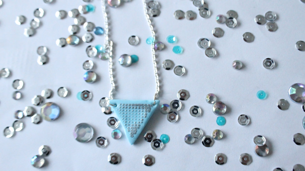 Light Blue Triangle Necklace with Silver Embossed Spotted Print