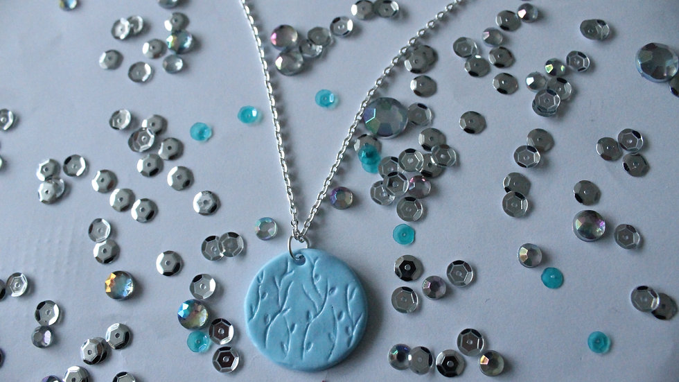 Blue Round Necklace with Hand Engraved Floral Pattern