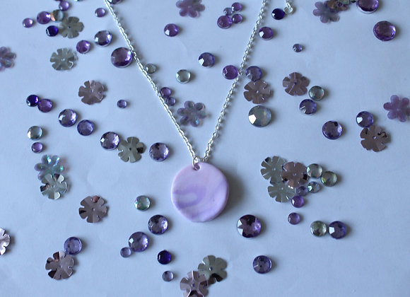 Pink and Purple Marbled Pendent Necklace with Sparkles