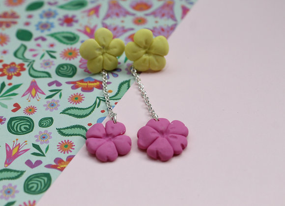 Playful Pink Butterfly Drop with Bold Yellow Flower Stud Earrings