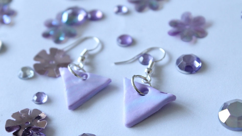 Pink and Purple Marbled Triangle Drop Earrings with Glitter
