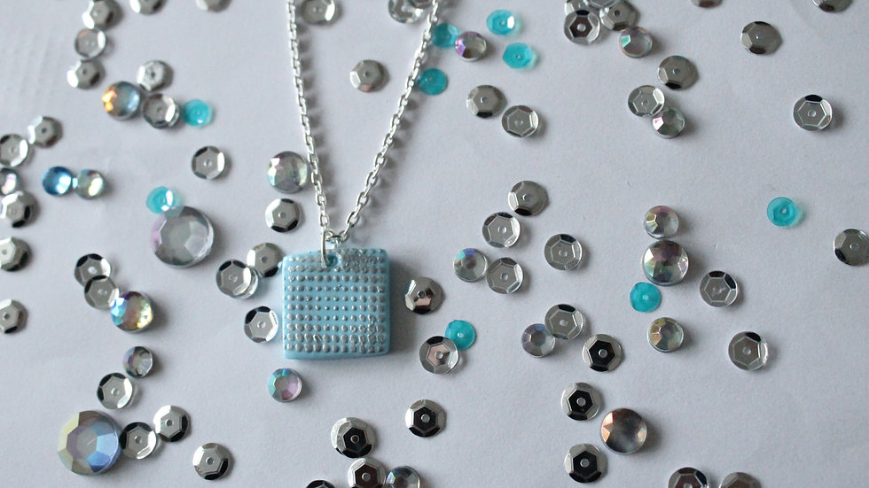 Silver Embossed Spotted Printed Blue Square Necklace