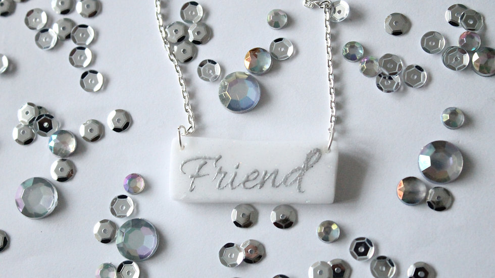 Silver Embossed Friend Printed White with Subtle Glitter Necklace