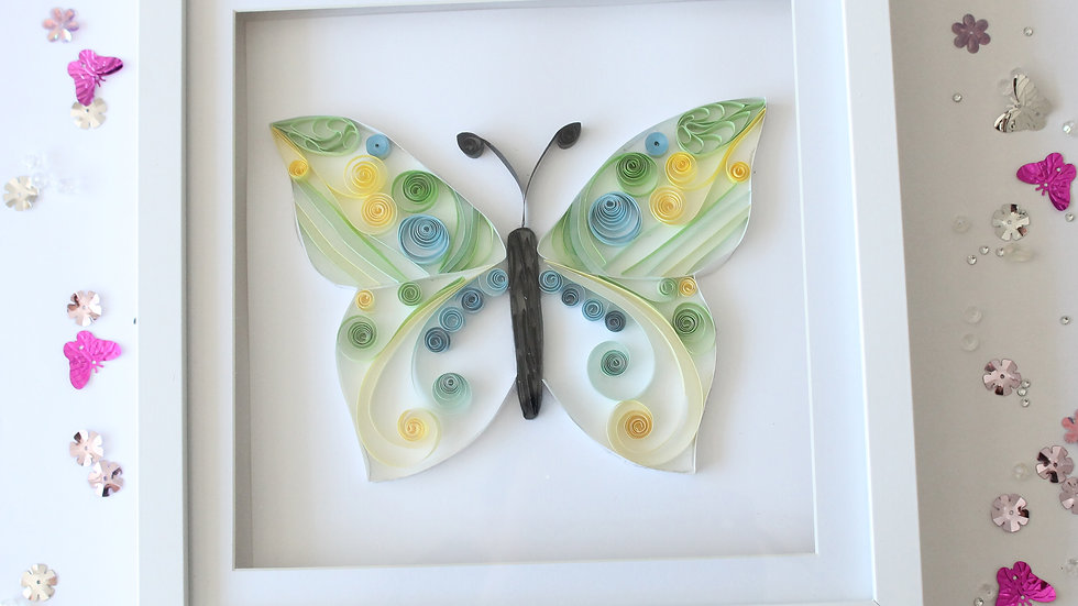 Paper Quilled Swirl Butterfly Framed
