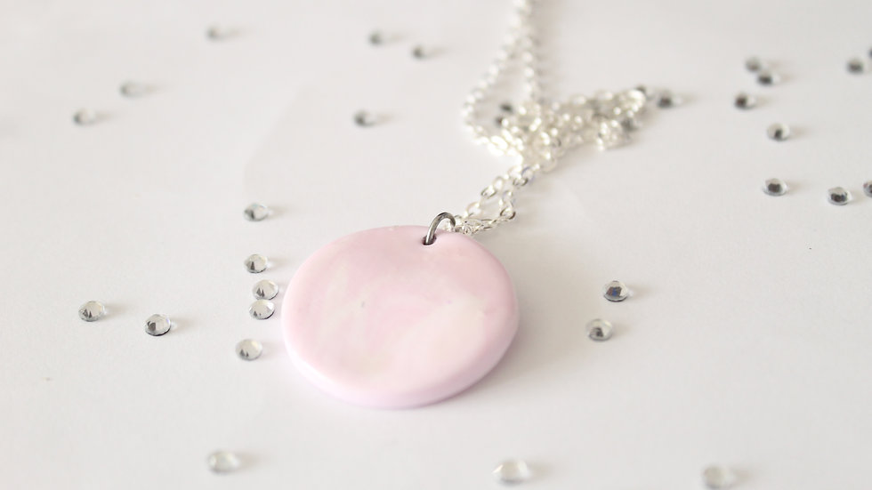 Round Pink Marbled Polymer Clay Pendent Necklace